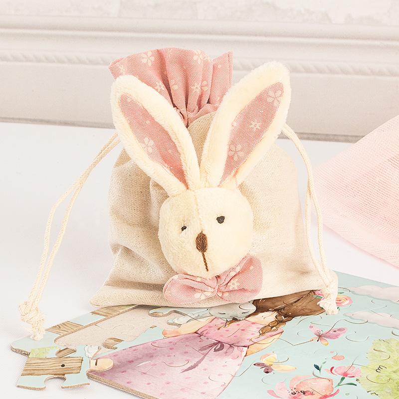 Woreczek naturalny z dekoracyjną głową królika. Puzzle dla dziecka.