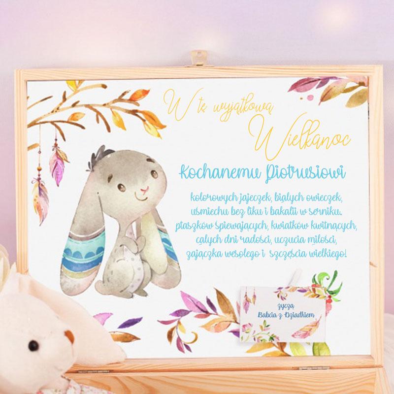 Zdjęcie w galerii - SKRZYNKA Prezent Wielkanocny Dla Dziecka Zajączek i Króliczek PERSONALIZOWANY