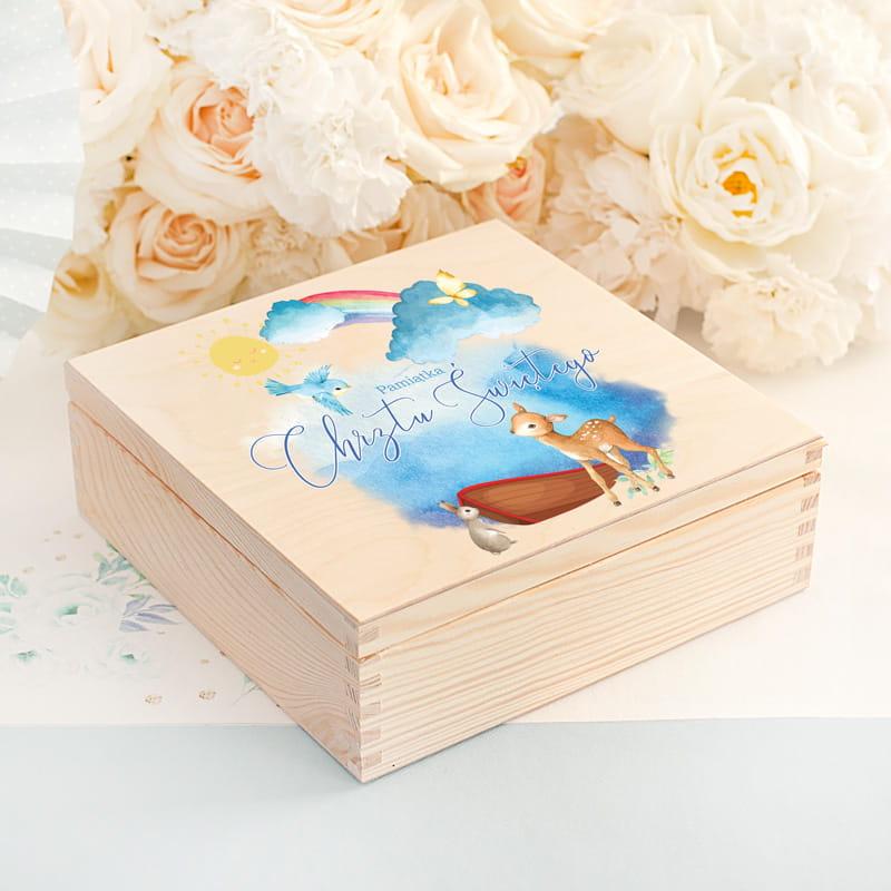 Zdjęcie w galerii - Skrzynka z Biblią Pamiątka Chrztu Św. Arka Noego personalizowana