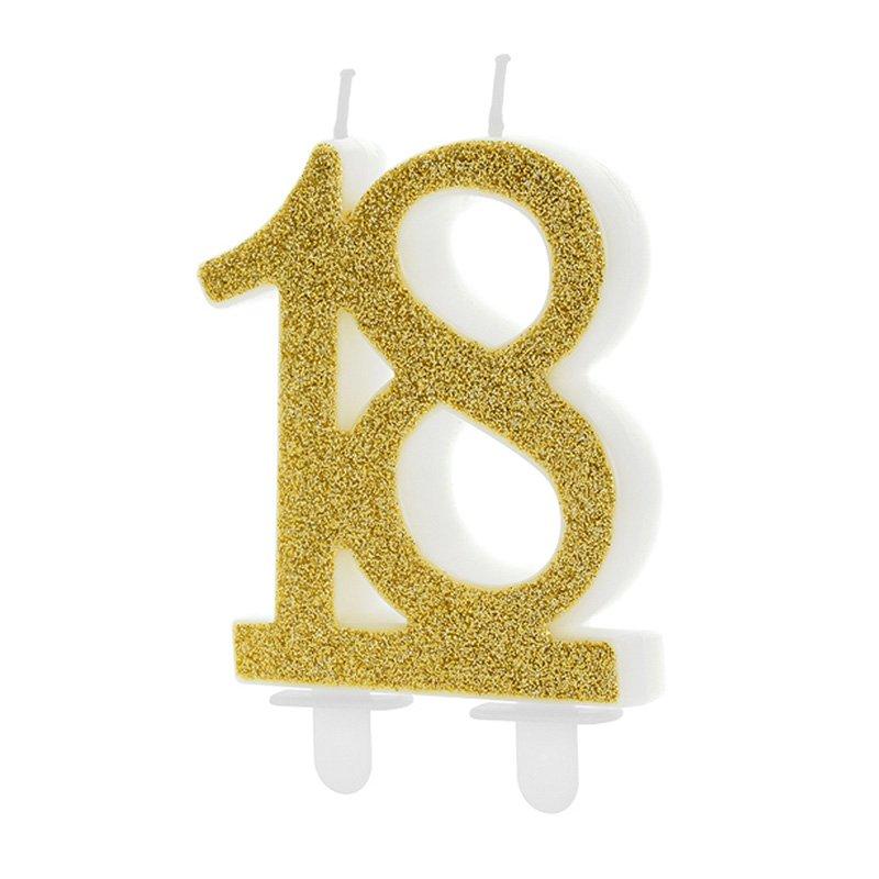 Dekoracja tortu na 18 urodziny w postaci świeczki. Świeca jest w złotym kolorze.