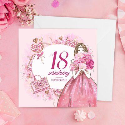 Zaproszenie na 18 urodziny z różową okładką i księżniczką która trzyma w rękach bukiet i ma na sobie różową suknię balową i brązowe włosy