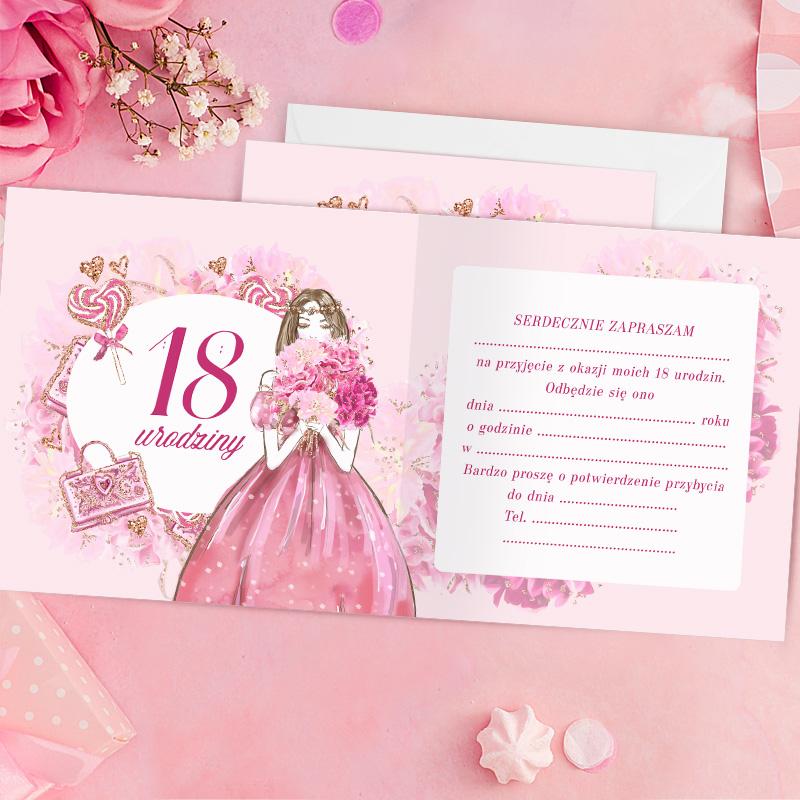 Zdjęcie w galerii - ZAPROSZENIA na 18 Urodziny Pink Princess 10szt +KOPERTY