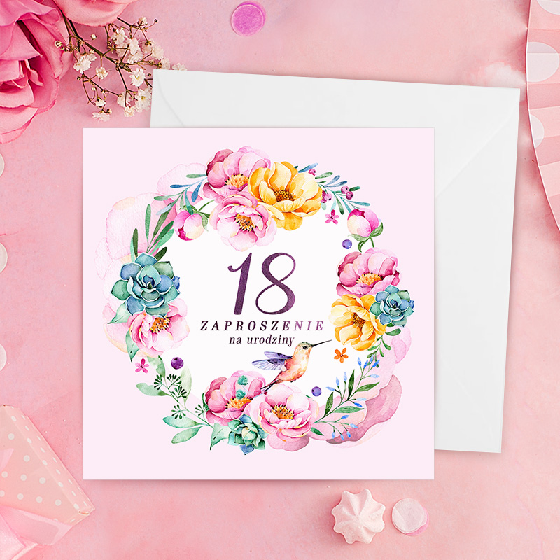 Zaproszenie z wiankiem z kwiatów w którego środku jest napis zaproszenie na 18 urodziny