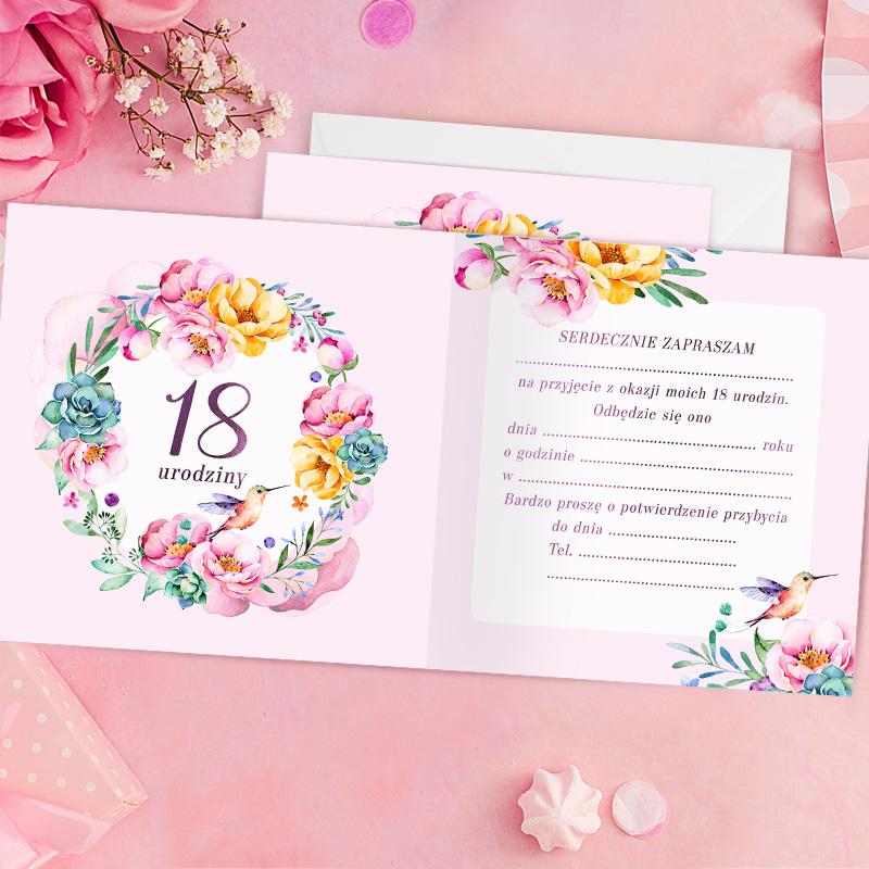 Zdjęcie w galerii - ZAPROSZENIA na 18 Urodziny Flower Queen 10szt +koperty
