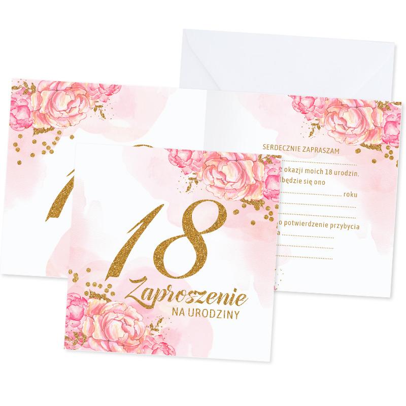 Zaproszenia rozkładane z grafiką różowych kwiatów. Na okładce jest złota liczba 18. Do samodzielnego wypisania.