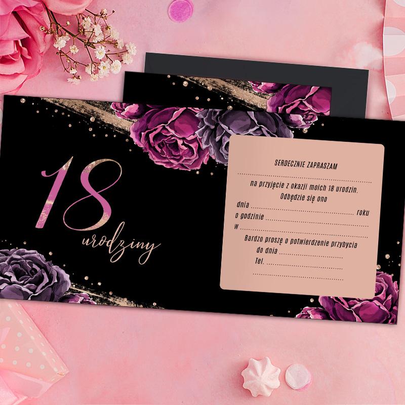 Zdjęcie w galerii - ZAPROSZENIA na 18 Urodziny Róż & Czerń 10szt +KOPERTY