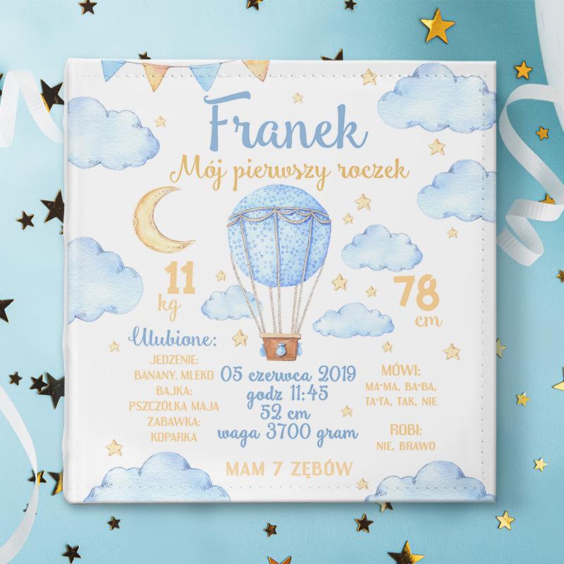 Zdjęcie w galerii - ALBUM na Zdjęcia Prezent na Roczek Błękitny Balon PERSONALIZOWANY