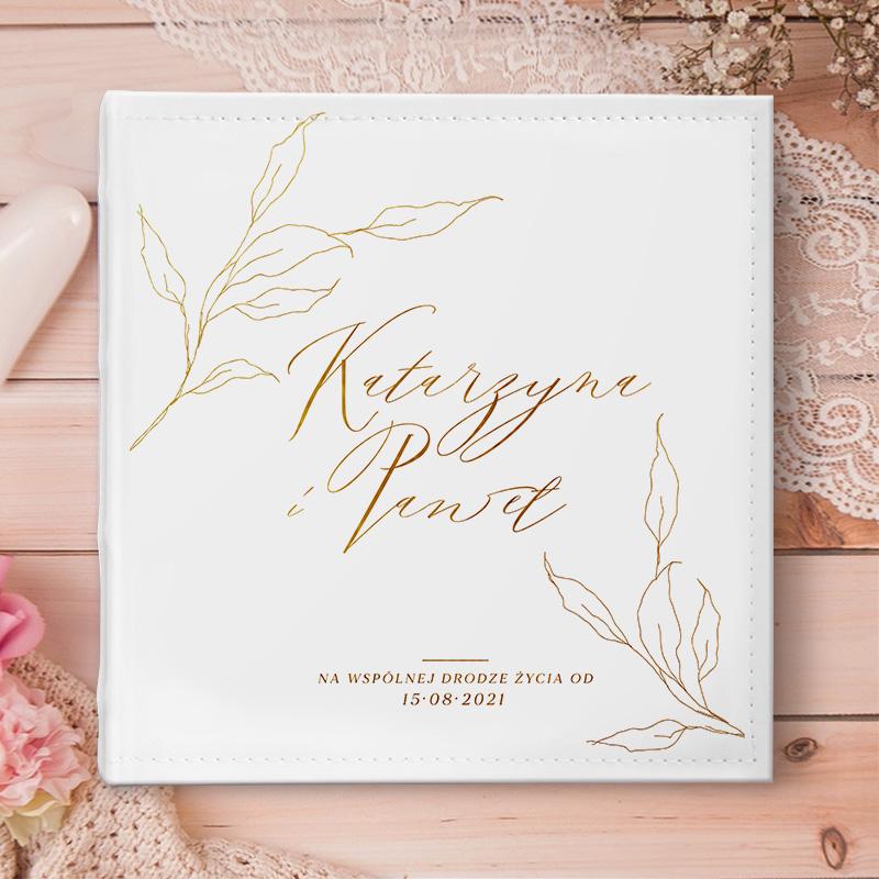 Zdjęcie w galerii - ALBUM ślubny na zdjęcia Prezent dla Pary Młodej Złote Gałązki PERSONALIZOWANY