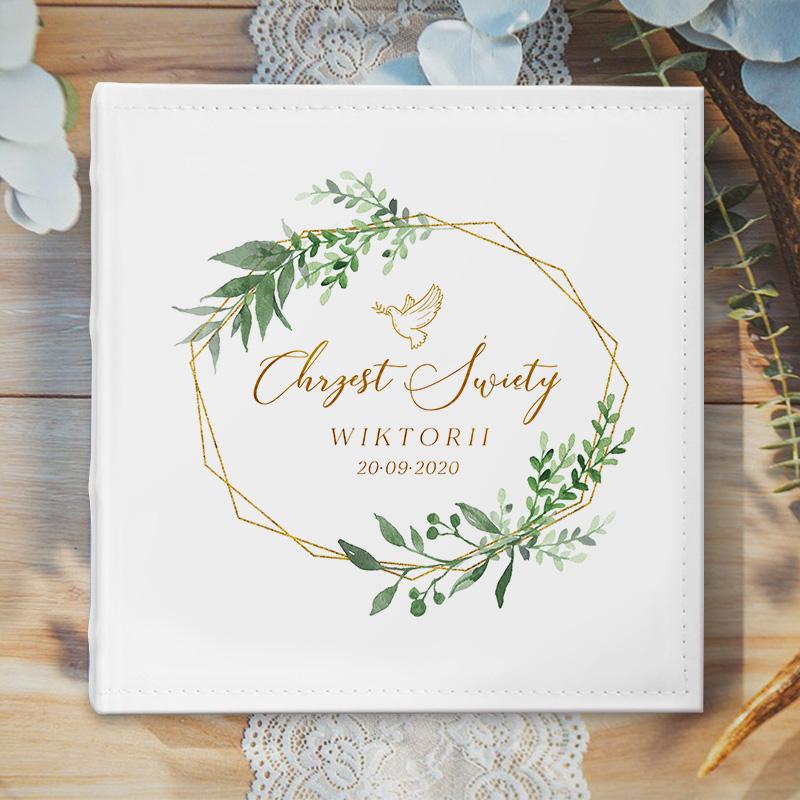 Zdjęcie w galerii - ALBUM na zdjęcia Prezent na Chrzest Św. Złoto-Zielony Wianek PERSONALIZOWANY
