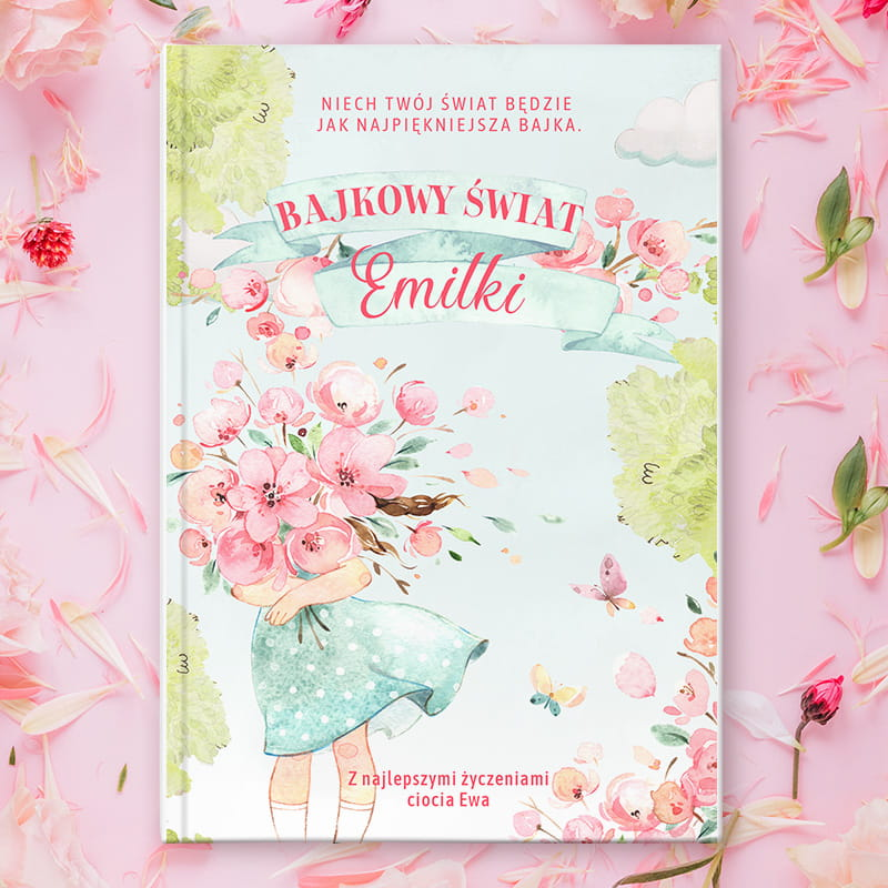 Książeczka z bajkami personalizowana z grafiką Dziewczynka z kwiatami , idealny prezent dla dziecka na urodzinki, chrzest