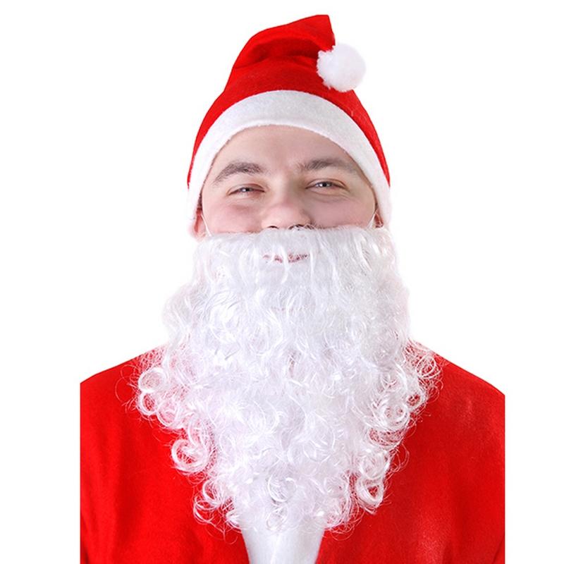 Biała broda Świętego Mikołaja - dodatek do stroju na Boże Narodzenie. Przebranie Świętego Mikołaja.