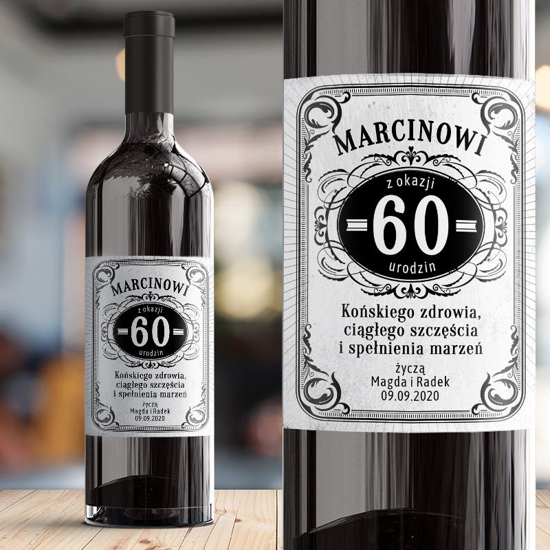 Personalizowana, samoprzylepna etykieta na wino z okazji urodzin, z możłiwością wpisania wieku, życzeń oraz daty uroczystości