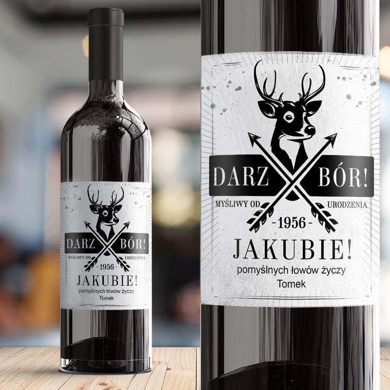 Samoprzylepna etykieta na wino , prezent dla mysliwego, etykieta z personalizacją
