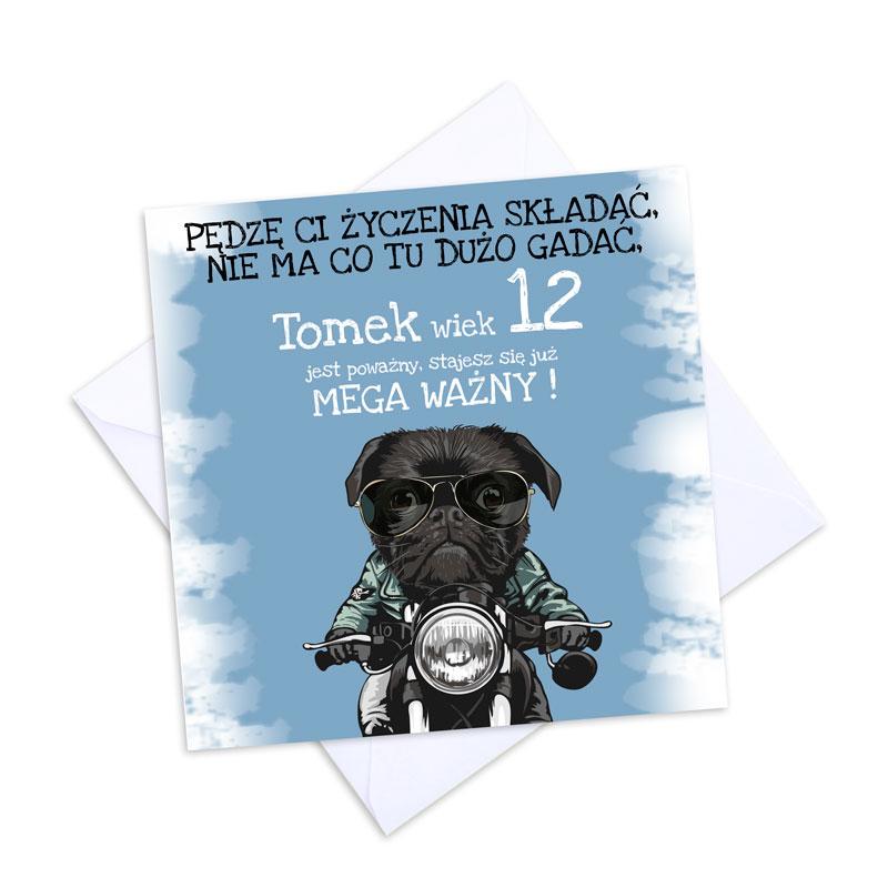 Zdjęcie w galerii - KARTKA urodzinowa Dla Nastolatka Buldog na Motorze PERSONALIZOWANA +koperta