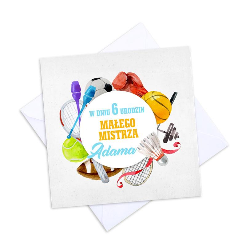 Zdjęcie w galerii - KARTKA urodzinowa Dla Małego Mistrza Sportu PERSONALIZOWANA +koperta