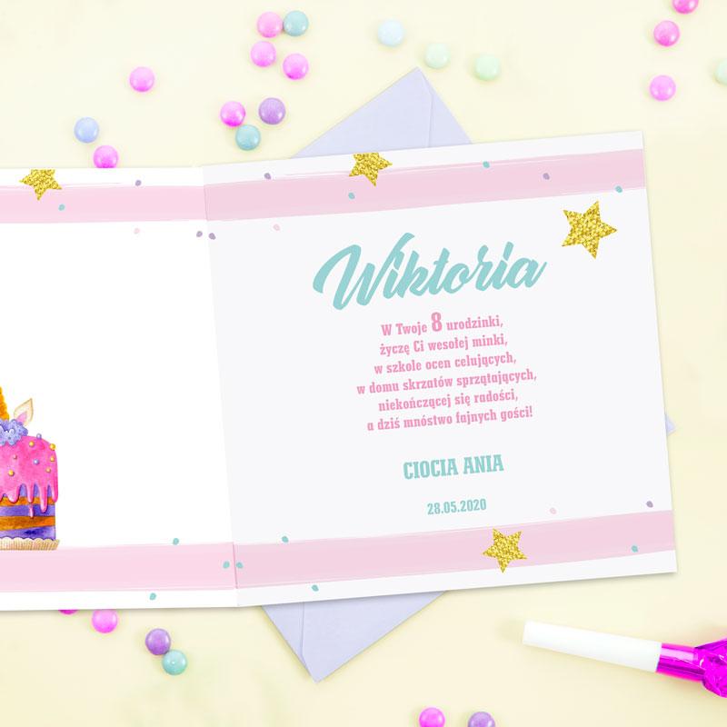Zdjęcie w galerii - KARTKA urodzinowa Różowy Tort PERSONALIZOWANA +koperta
