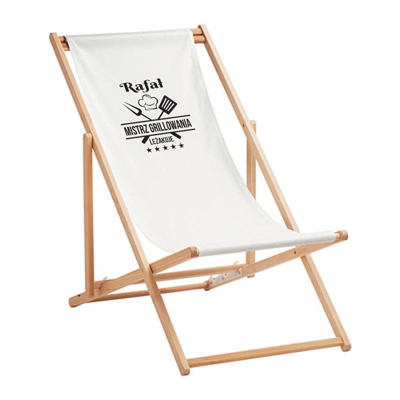Personalizowany leżak na prezent z napisem Mistrz Grillowania i imieniem obdarowanego