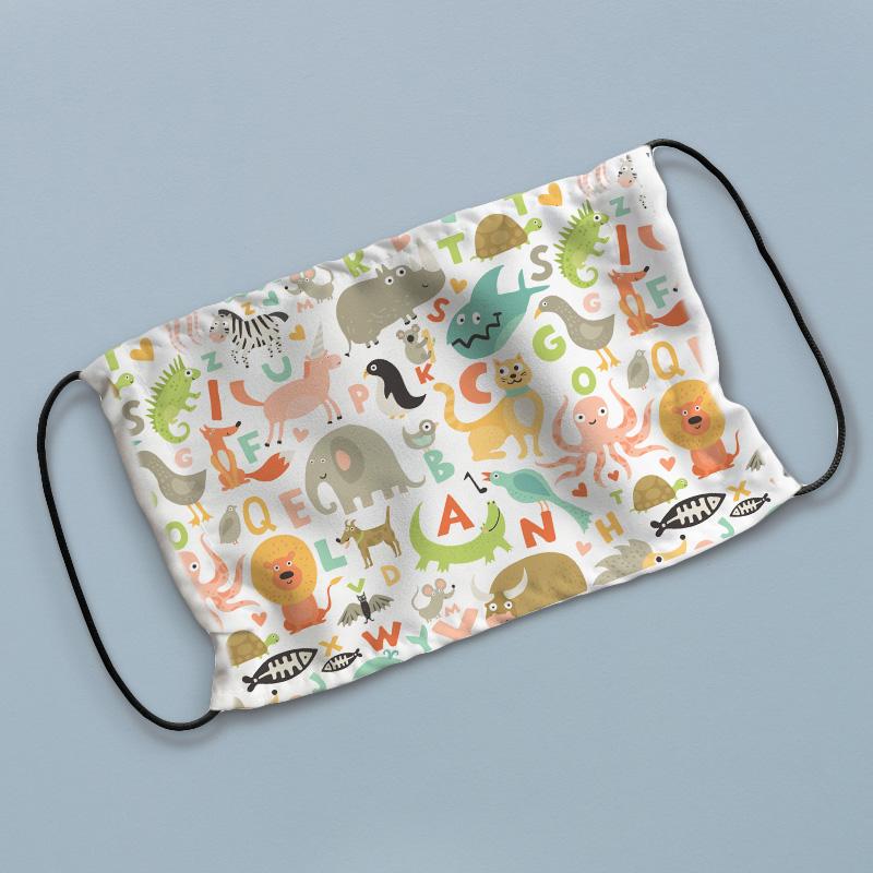 Maseczka ochronna z filtrem chroniącym przed bakteriami i wirusami, trójwarstwowa, z grafiką dziecięca alfabet