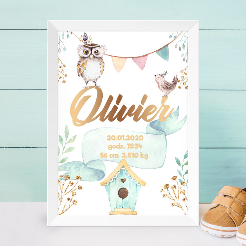 Metryczka na plakacie do pokoju dziecka ze złotym imieniem i ptaszkami