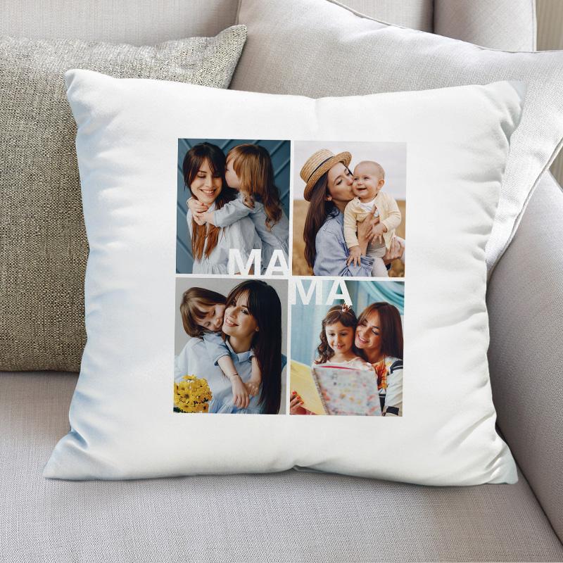 Biała, kwadratowa poduszka z 4 zdjęciami, które są połączone napisem mama. Zdjęcia przedstawiają kobietę z dziećmi.