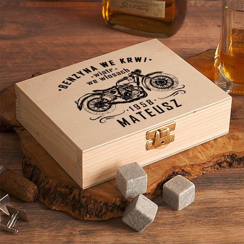Zdjęcie w galerii - SKRZYNKA Kamienie do Drinków/Whiskey Dla Motocyklisty PERSONALIZOWANA