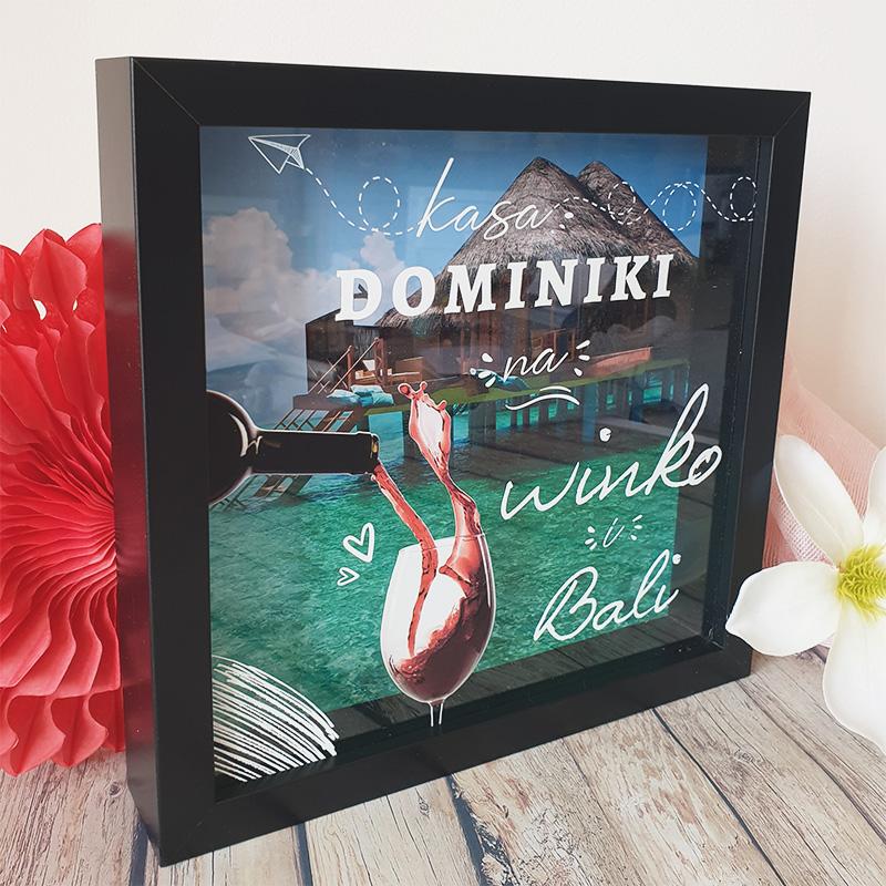 Skarbonka personalizowana na wino i Bali, idealny prezent dla kobiety