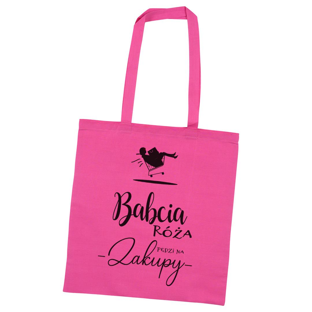 Torba na zakupy różowa z napisem Pędzi na zakupy