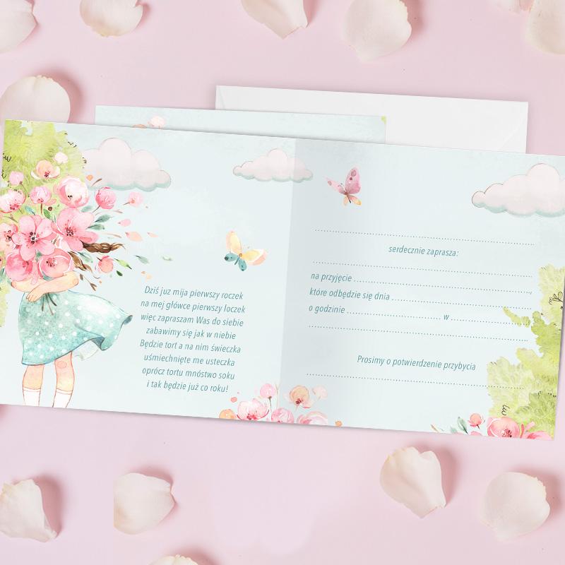Zdjęcie w galerii - ZAPROSZENIA na roczek Dziewczynka z Kwiatami 10szt +koperty