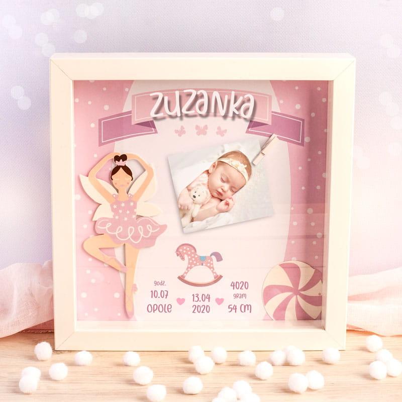 Zdjęcie w galerii - METRYCZKA Ramka 3D Prezent Dla Dziewczynki RÓŻOWY KONIK