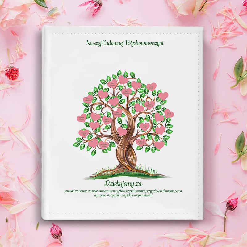 ALBUM Podziękowania dla Wychowawczyni Drzewo do personalizacji, wykonany z białej ekoskóry.