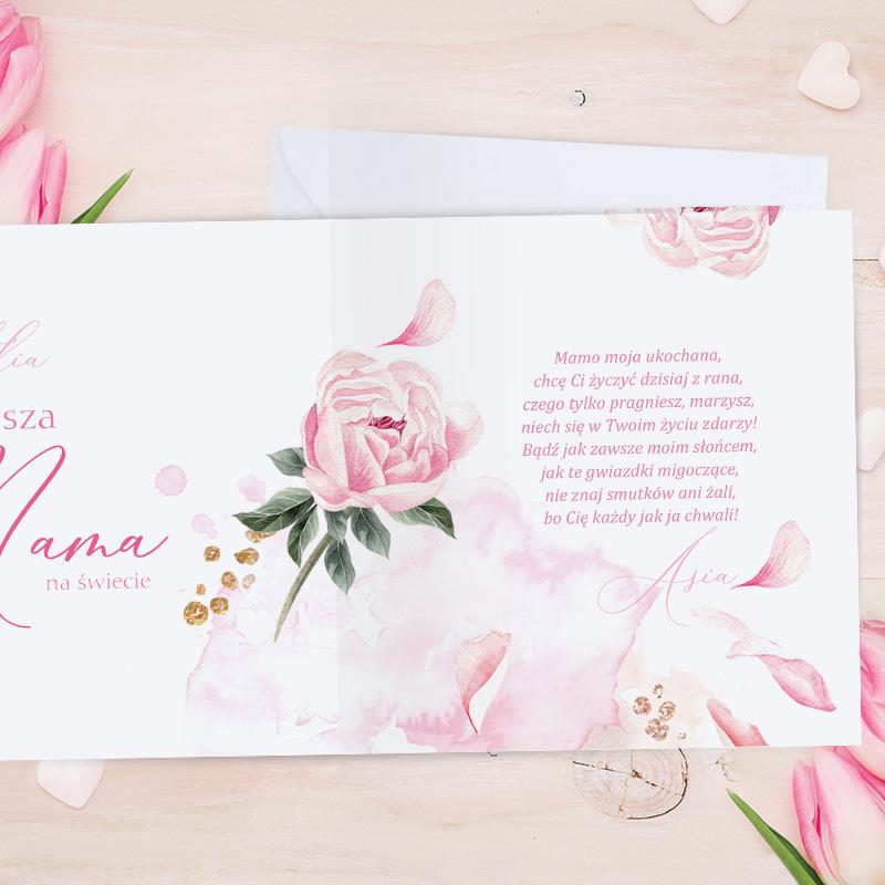 Zdjęcie w galerii - KARTKA na Dzień Mamy Najlepsza Mama na świecie PERSONALIZOWANA+koperta
