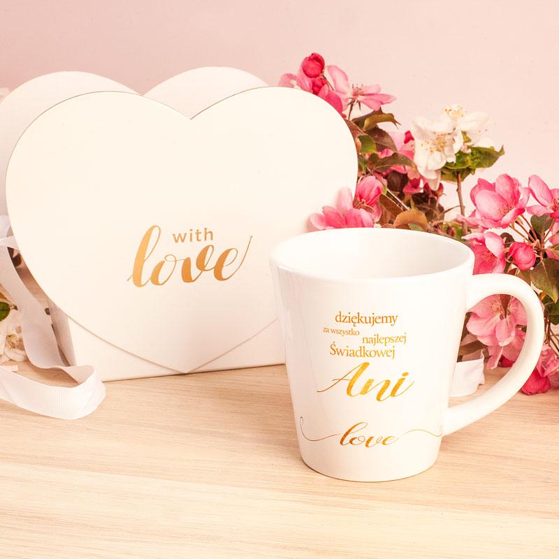 Zdjęcie w galerii - KUBEK małe latte w pudełku serce Podziękowanie dla Świadkowej Only Love