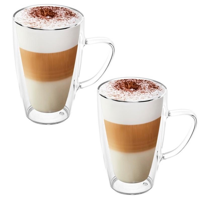 Dwie szklanki wysokie z kawą typu latte z podwójnym dnem i wygodnymi uchami.