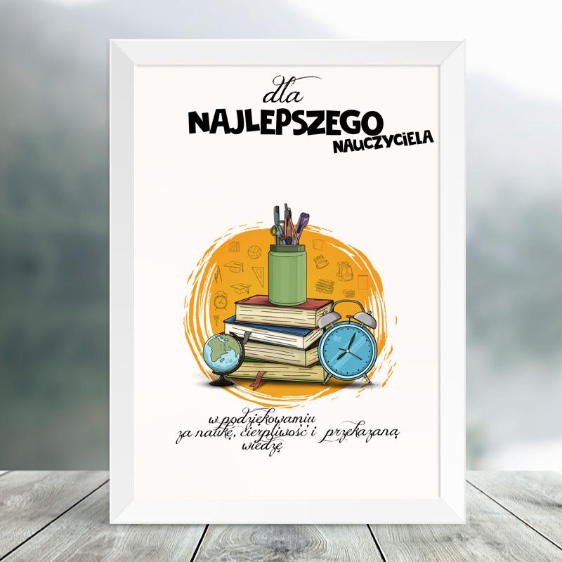 Plakat dla nauczyciela Globus do perosnalizacji z atrybutami szkolnymi takimi jak książki, przybory szkolne, budzik i globus.