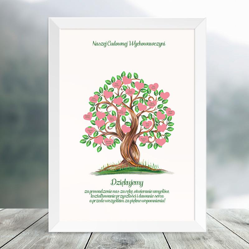 PLAKAT dla Wychowawcy Drzewo Serc do personalizacji sprawdzi się jako świetny prezent z okazji zakończenia szkoły czy też zakończenia roku szkolnego. W swojej grafice ma ujęte drzewo, którego listki są w kształcie serca