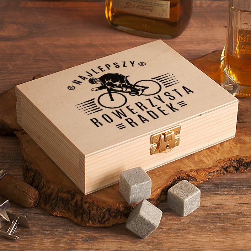 Zdjęcie w galerii - SKRZYNKA Kamienie do Drinków/Whiskey Dla Rowerzysty PERSONALIZOWANA