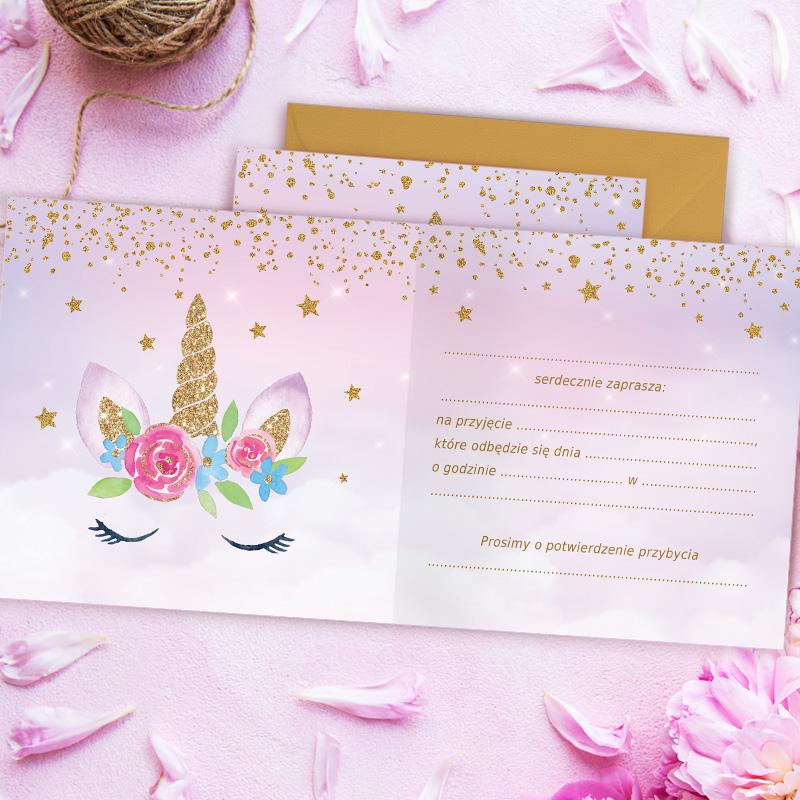 Zdjęcie w galerii - ZAPROSZENIA na Urodzinki Jednorożec 10szt +koperty