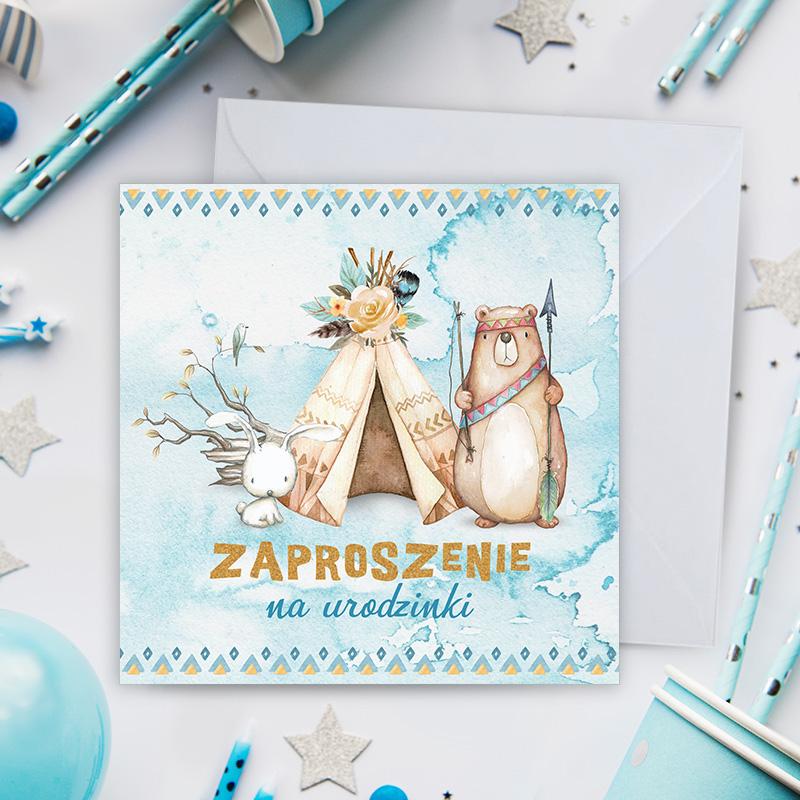 Uniwersalne zaproszenia na urodzinki dla dzieci z dekoracją w indiańskim, Miś i zajączek zapraszają na super urodzinki dziecka