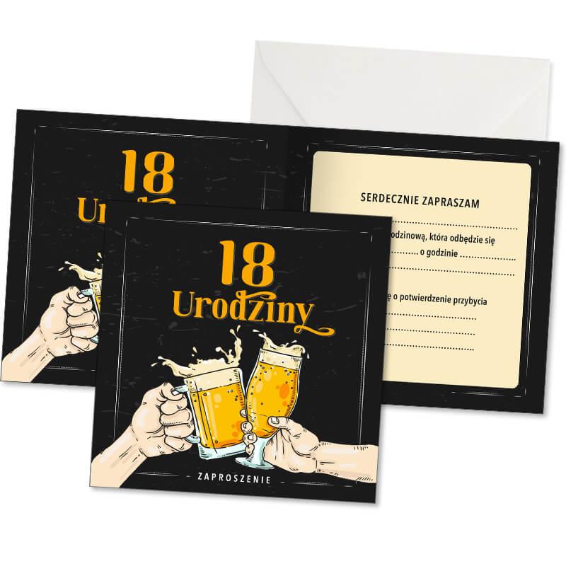 Zdjęcie w galerii - ZAPROSZENIA Uniwersalne na 18 urodziny Beer Party 10szt +koperty