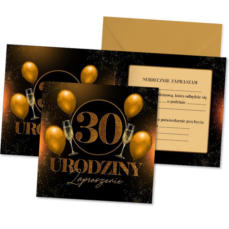 Zdjęcie w galerii - ZAPROSZENIA Uniwersalne na 30 urodziny Złoto & Czerń 10szt +koperty