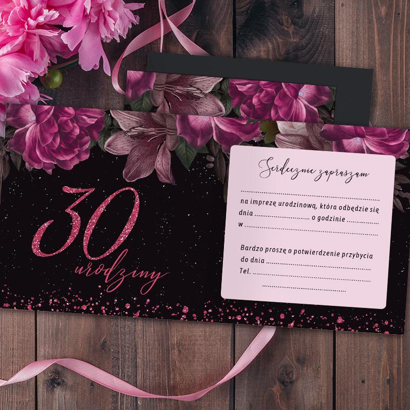 Zdjęcie w galerii - ZAPROSZENIA Uniwersalne na 30 urodziny Róż & Czerń 10szt +koperty