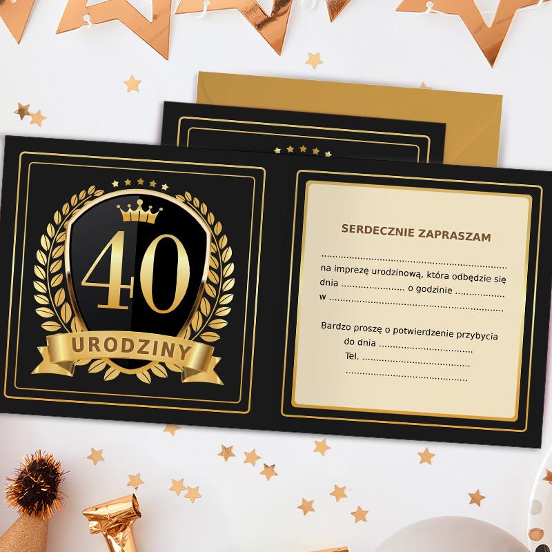 Zdjęcie w galerii - ZAPROSZENIA Uniwersalne na 40 urodziny Złoto & Czerń 10szt +koperty