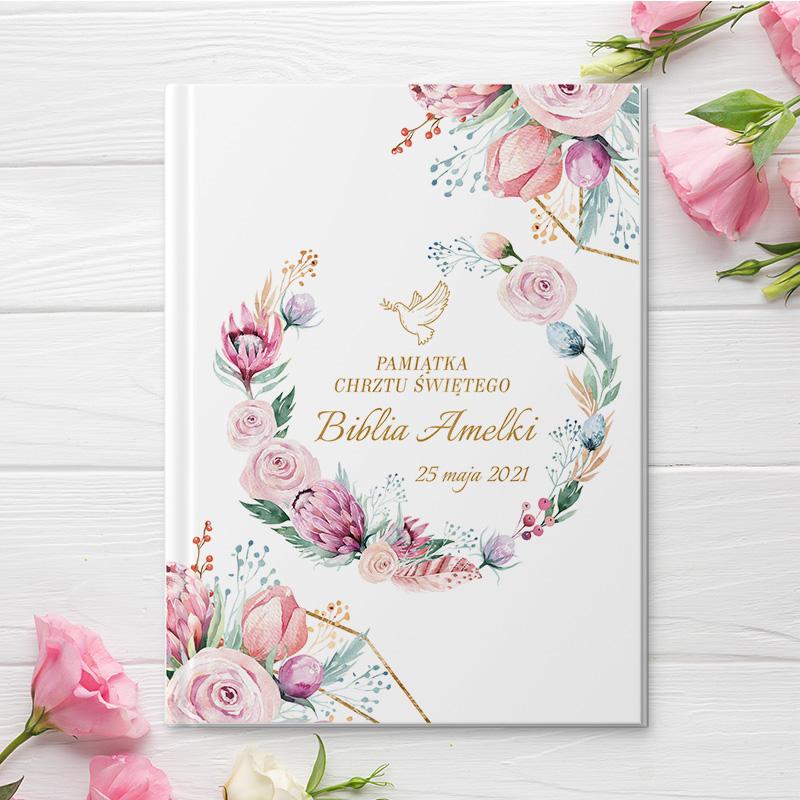 Zdjęcie w galerii - BIBLIA Prezent na Chrzest Św. Dream Flowers PERSONALIZOWANA