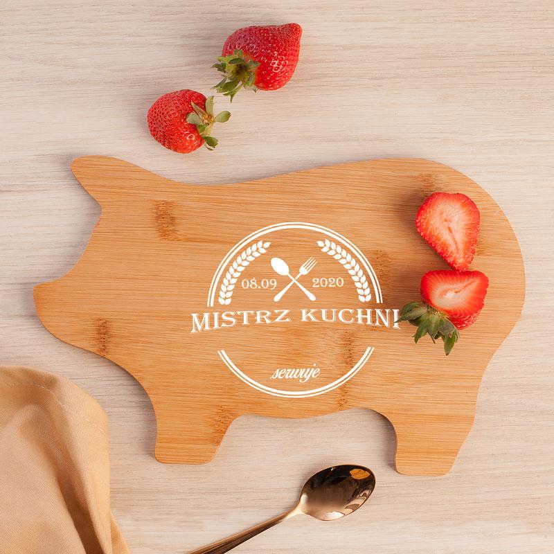 Zdjęcie slidera - Deska Świnka Prezent dla Niego Mistrz Kuchni PERSONALIZOWANA