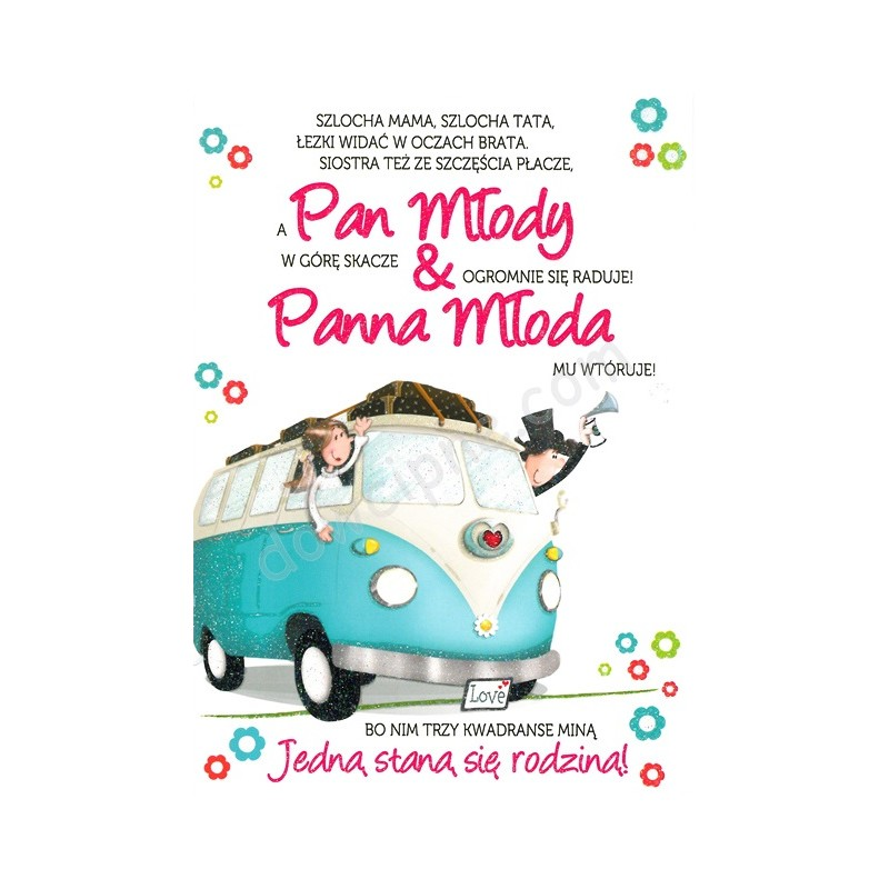 Kartka z życzeniami dla młodej pary z kolorową ilustracją. Młoda Para jedzie samochodem typu ogórek, machają rękoma, a nad nimi znajduje się dekoracyjny napis z tekstem życzeń.