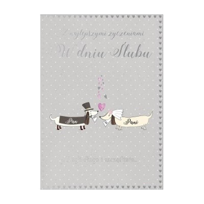 Kartka z życzeniami dla młodej pary z wizerunkiem piesków.