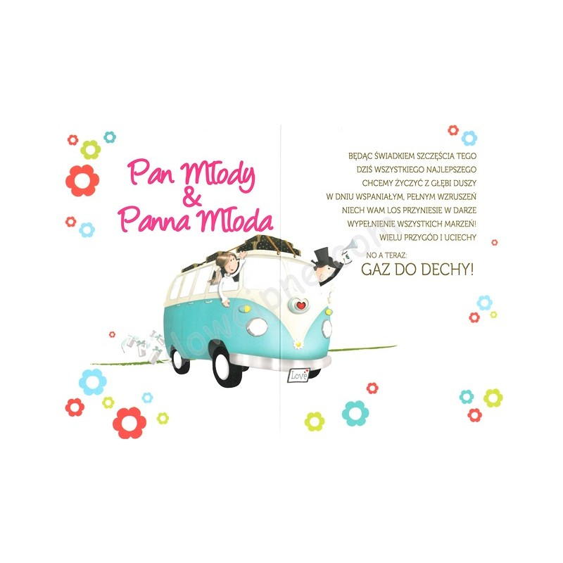Zdjęcie w galerii - KARTKA z życzeniami dla Pary Młodej Nowożeńcy w Samochodzie