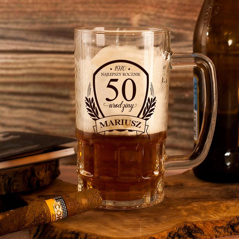 Kufel do piwa z imieniem, rocznikiem i 50 urodziny.