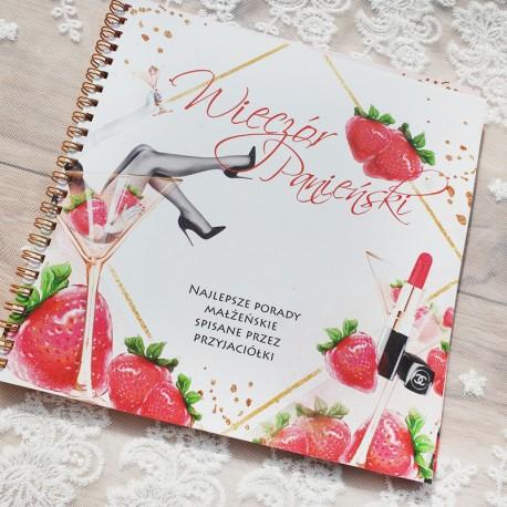Notatnik na porady małżeńskie z dekoracyjną grafiką z motywem truskawek, kieliszka do martini oraz szminki.