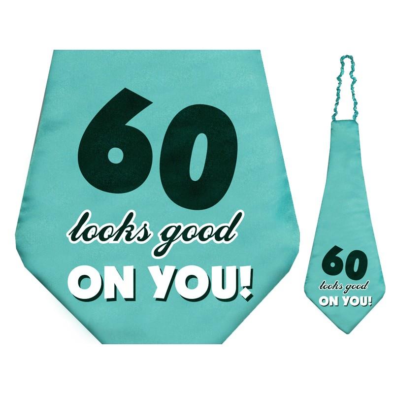 Krawat na okrągłe, 60 urodziny z napisem 60 looks good on you!